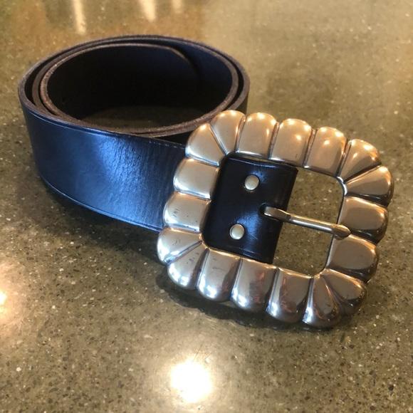 Ralph Lauren Black Leather Belt w/ Brass Buckle
